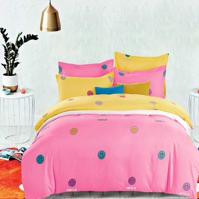 Smiley Face Cartoon Mr Beard Printed 4pcs / 3pc Bedding Sets For Boys Girls  Comforter Cover