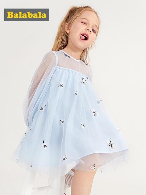 Balabala/детское Тюлевое платье для девочек с длинными рукавами, украшенное вышивкой, с галстуком-бабочкой на груди, Детские платья для маленьких девочек на весну