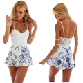 40 9881 Women Summer Playsuits Jumpsuits Beach Spaghetti Strap Backless Sexy Lace Slim Sleeveless Female Shorts Romper Overalls