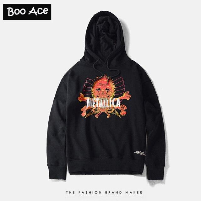 Metallica Skull Print Men Streetwear Black Rock Hooded Coats Pullovers  sweatshirts Oversized Tracksuit Hoodies M-