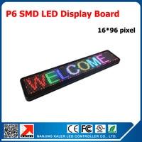 kaler Super bright P6 3in1 RGB full color 1/8 scan P6 led panel scrolling message led signboard 96*576mm indoor led sign