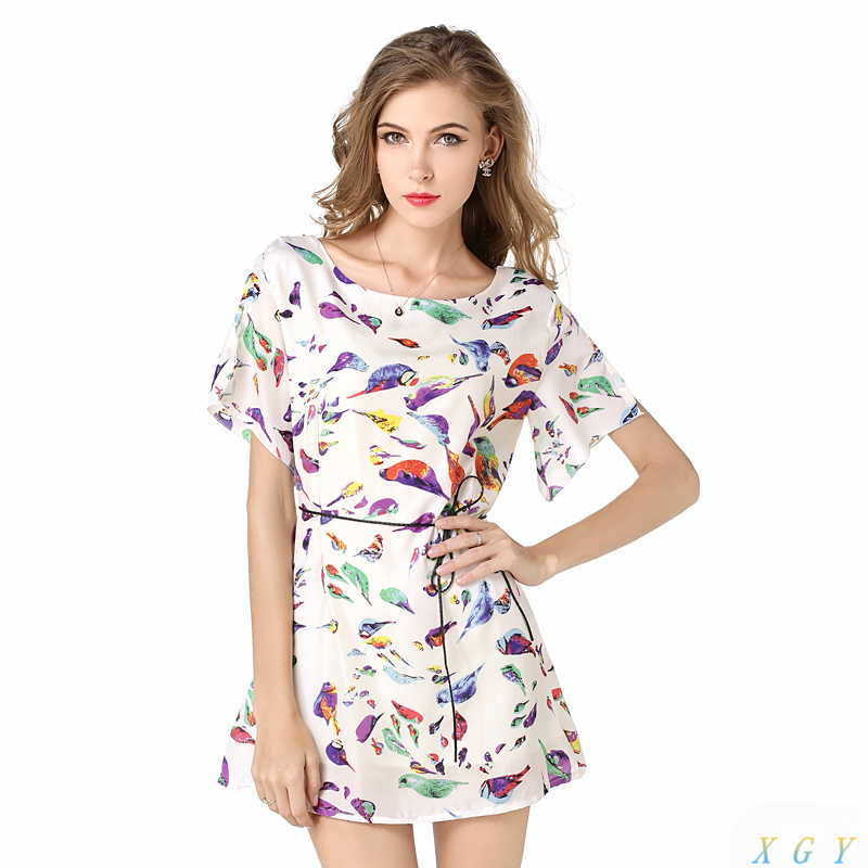 New Arrivals Women Dress Top Fashion Bird Batwing Sleeve Printed Chiffon Mini Dress For Women Black White Plus Size S-XXL