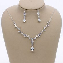 Stunning Copper Wedding Cubic Zircon Jewelry Set Bridal CZ Necklace Earring Set Banquet Party Jewelry Set Bridesmaids Jewelry 2018 new fashion green square cz zircon necklace earring bracelet ring wedding bridal banquet dinner dressing jewelry set