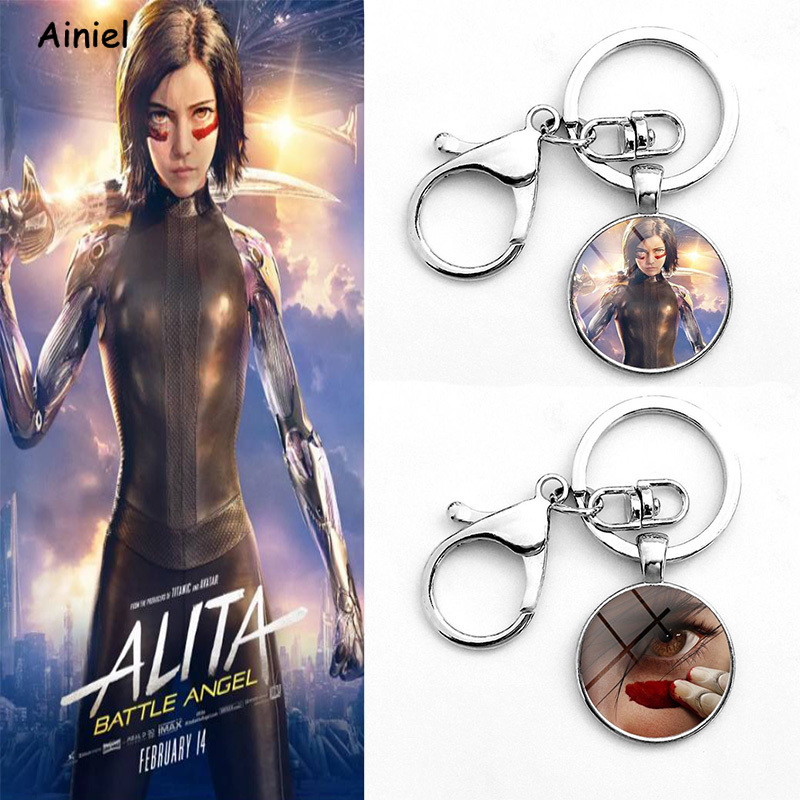 Movie Alita Battle Angel Cosplay Costumes Key Chain Keyring Bag Pendant Jewelry Trinket Alita Alloy for Women Girls Kids Gift
