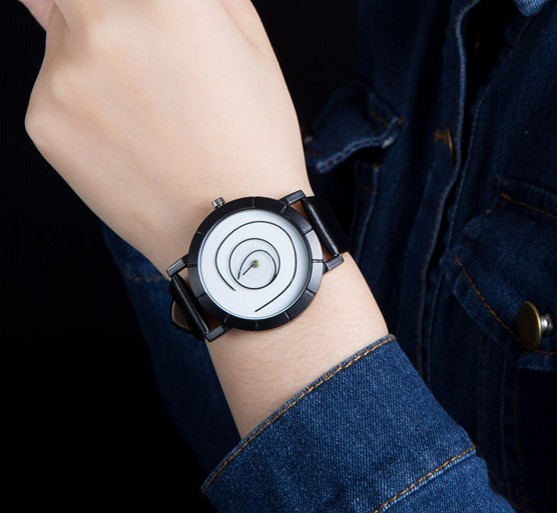 Men's Gift Ladies Watch Neutral Coil Hands Design Wristwatch Creative Dial Breathe Freely Strap Simple Fashion Quartz Watch