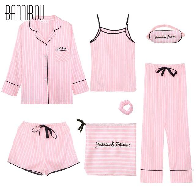 ca86dc1608 high quality women's 7 pieces Pink pajamas sets satin silk lingerie Striped  new homewear sleepwear pyjamas