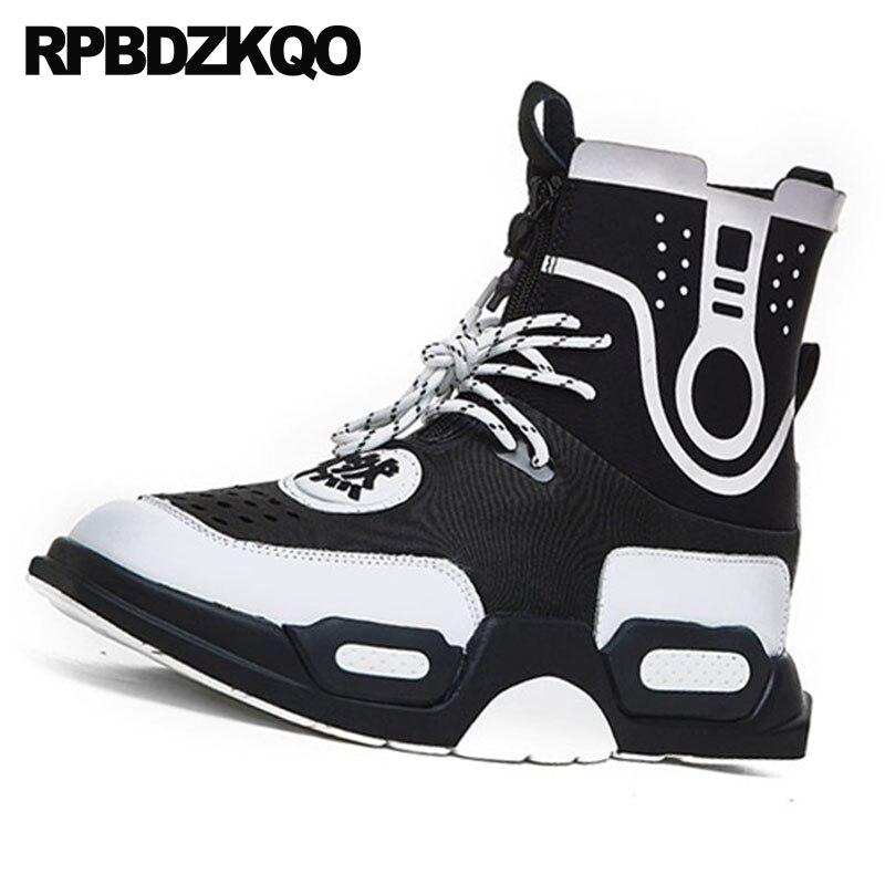 Retazos Cordones Elegantes Gruesa Otoño De Alta Lujo Botas 2018 Suela multiple Hombre Zapatillas Y Entrenamiento Tobillo Con Harajuku White Para Black 8qZSwAw