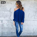 Casual Relaxes Ladies Tops Sexy Sling Strapless Chiffon Long Sleeve Shirt Women Loose Solid Color Roupas Femininas R445