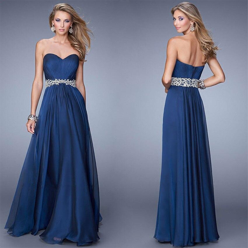 Custom Simple Long Navy Blue Chiffon Prom Dresses 2015 ...