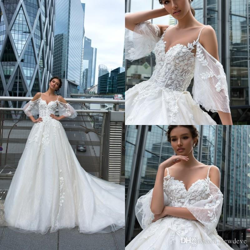 2019 Lace Wedding Dresses Lace Appliques Illusion Castle Bridal Gowns Sweep Train A Line Wedding Dress robe de mariee