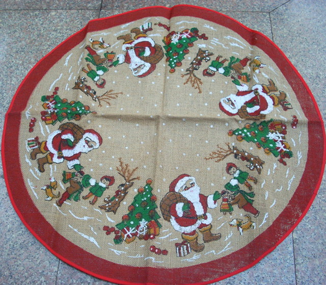 christmas gifts christmas tree decoration tree skirt high end linen printed retro christmas - Vintage Christmas Tree Skirt