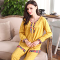 Autumn Knitted Cotton Pajamas Round Neck Women Pajama Sets Polka Dot Lounge Pyjamas Full Sleeve Nightwear Casual Homewear