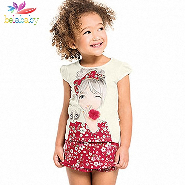 Belababy bebê conjuntos de roupas meninas 2017 crianças novas do verão estampado floral t-shirt + shorts crianças dos desenhos animados 2 pcs roupas definir para as meninas