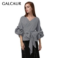 GALCAUR Casual Womens Shirts Blouse V Neck Puff Sleeve Bowknot Bandage Plaid Blouse Tops Female 2019 Spring Clothes