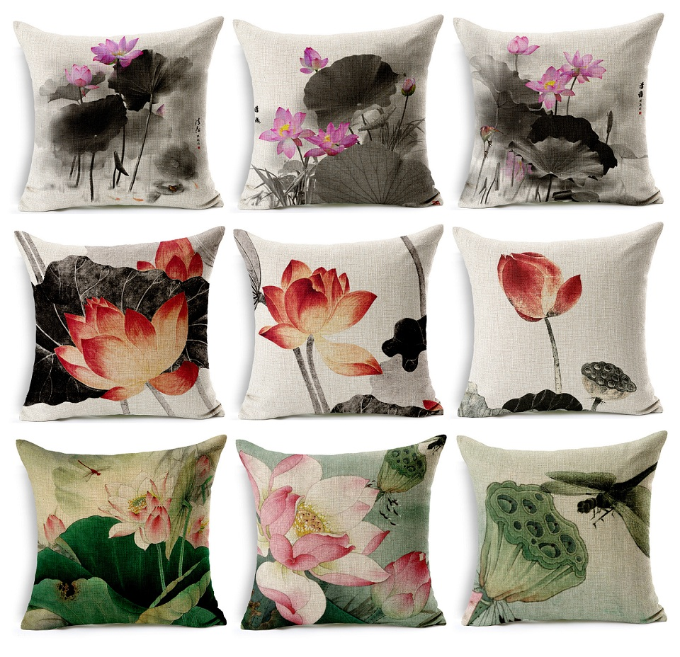 Lotus Flower Blossom Cushion Cover Chinese Pastoral Water Lily