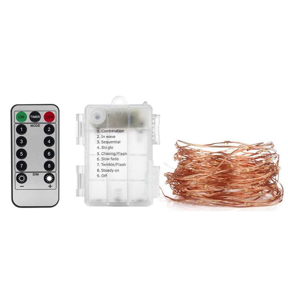 2 Set Fairy Lights Battery Operated String Lights Waterproof 8 Modes 50 LED 16ft Fairy with Remote and Timer for Party Festivals