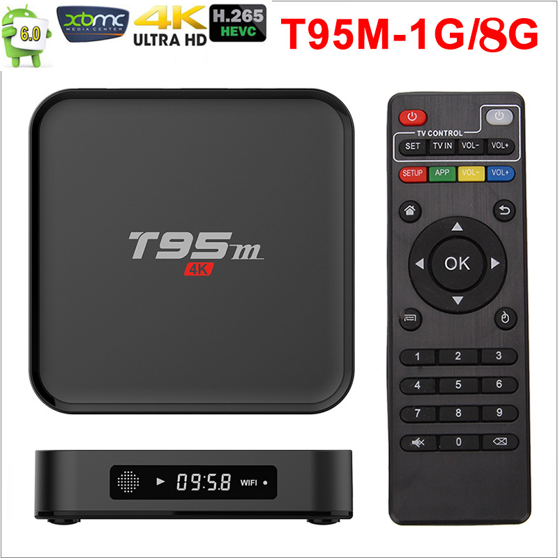 Amlogic Flusso T95M Android TV Box 1G/8G 2G/8G Lettori Multimediali 2.4G WiFi Amlogic S905X 16.0 Android 6.0 Quad Core H.265 4 K TV BOX