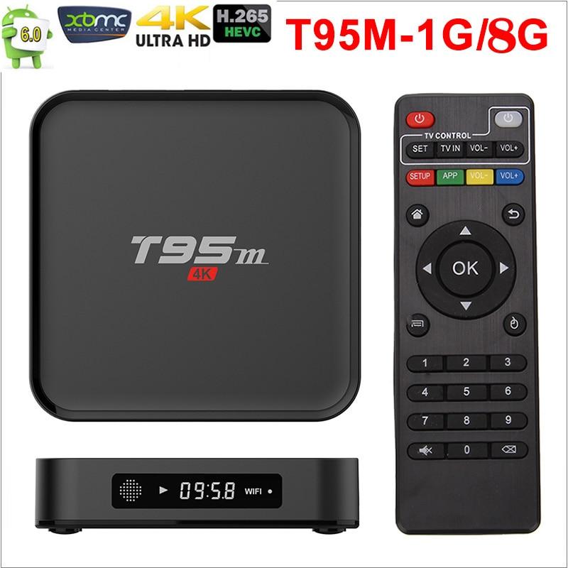 Amlogic Stream T95M Android TV Box 1G/8G 2G/8G Media Players 2.4G WiFi Amlogic S905X 16.0 Android 6.0 Quad Core H.265 4K TV BOX