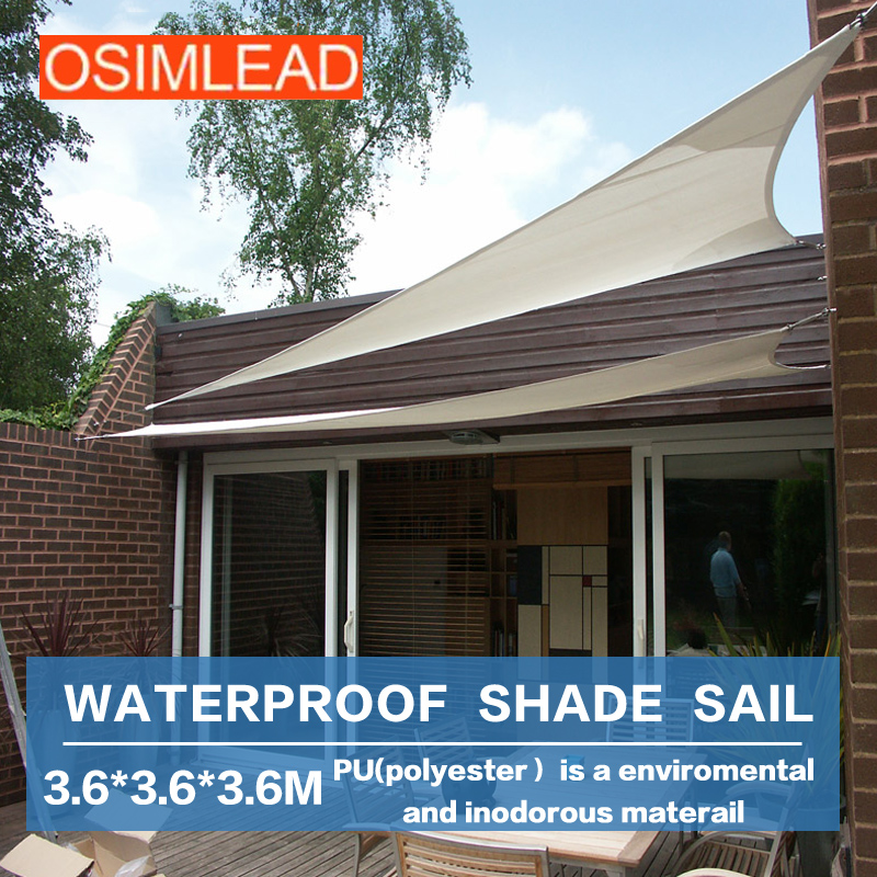 OSIMLEAD 3.6*3.6*3.6m waterproof sun shade sail - RECTANGLE CANOPY COVER - OUTDOOR PATIO AWNING 12 * 12 * 12 esspero canopy