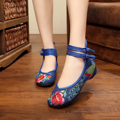 New fashion Chinese style beautiful blue peacock embroidery ladies flats shoes casual fashion walking oxford shoes women