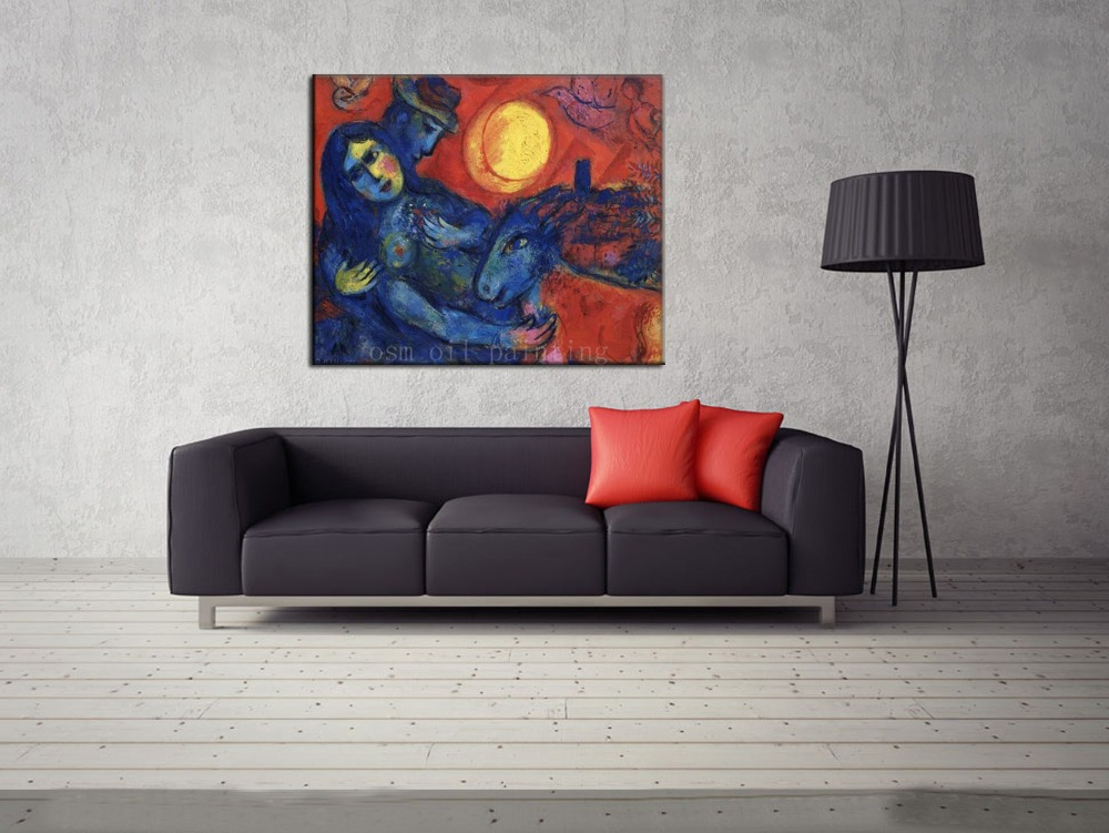 Hand Painted Modern Abstract Portrait the Nude Woman Lying in Man Arms, Sheep Around Under the Big Sun Oil Painting on Canvas Hand Painted Modern Abstract Portrait the Nude Woman Lying in Man Arms, Sheep Around Under the Big Sun Oil Painting on Canvas