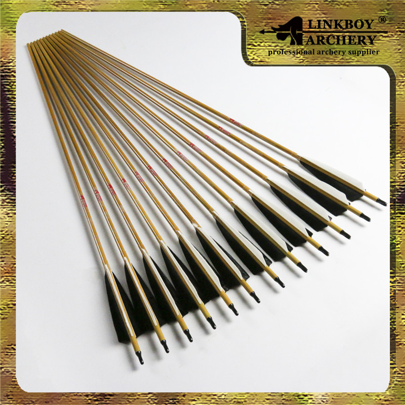 12pcs linkboy Archery pure carbon arrows 32inch  w/bamboo skin spine 600 completed arrows for bow hunting shooting free shipping wholesale archery equipment hunting carbon arrow 31 400 spine for takedown bow targeting 50pcs