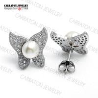 Zoetwaterparels Sieraden Echt 925 Sterling Zilveren Sieraden Vlinder Vormige Oorbellen