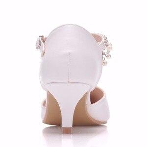 Image 3 - Crystal Queen sandales à talons hauts pour femmes, 5cm, chaussures dété à bout pointu, simple, strass, chaussures pour les dames Mary Janes