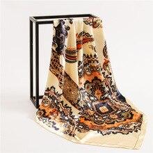 2019 New Womens Square Silk Scarf Ladies Shawls and Wraps Soft Small Office Fashion Foulard Neckerchief Bandana 90*90cm