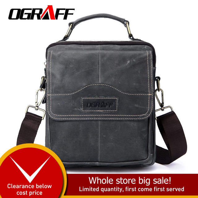 OGRAFF Genuine Leather Bag Tablets designer Men Bags Shoulder Crossbody Bags Messenger Vintage Casual Handbags Bags For Male