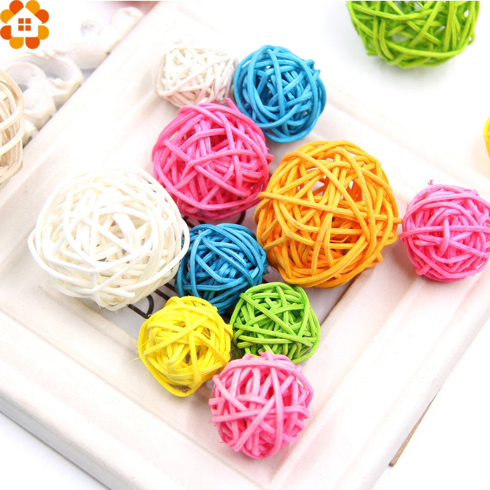 15PCS 3Sizes Mix-sizes Rattan Ball DIY Sepak Takraw Balls Home Ornaments&Christmas/Birthday/Wedding Party Decorations Kids Toys