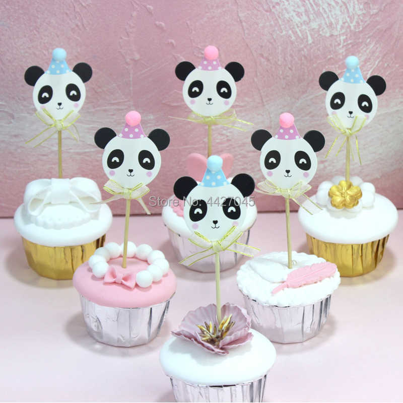 Lovely Cartoon Panda Cake Cupcake Toppers Pick Baby Shower Kids Happy Birthday Wedding Party Decorations