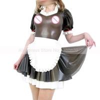 Sexy Transparent Black Latex Dresses Women Lolita Maid Costumes Handmade Customized S LD154
