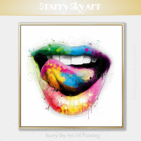Artist Hand painted High Quality Modern Fine Art Colorful Sexy Lips Oil Painting on Canvas Handmade Pop Art Sex Lip Oil Painting