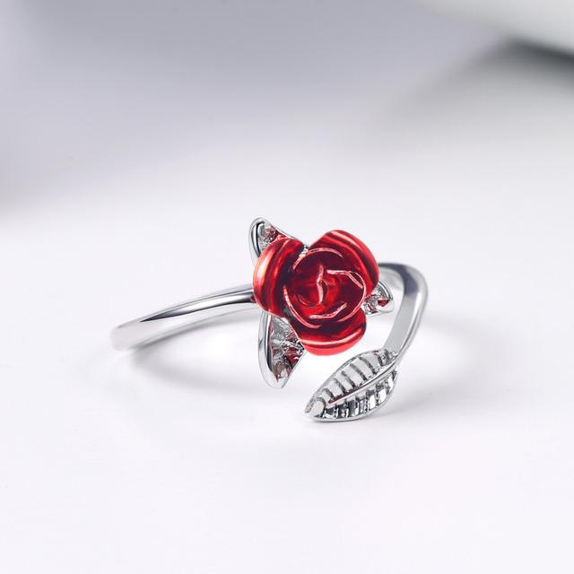 U7 Red Rose Garden Flower Leaves Resizable Finger Rings for Women Valentine's Day Gift Jewelry Hot Sale 2019 Open Ring R1019