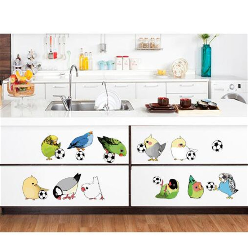 1PCS Bird Kick Football DIY Wall Sticker For Switch Toilet Refrigerator Removable Glass Sticker 50 70CM Mural Room Decoration in Wall Stickers from Home Garden