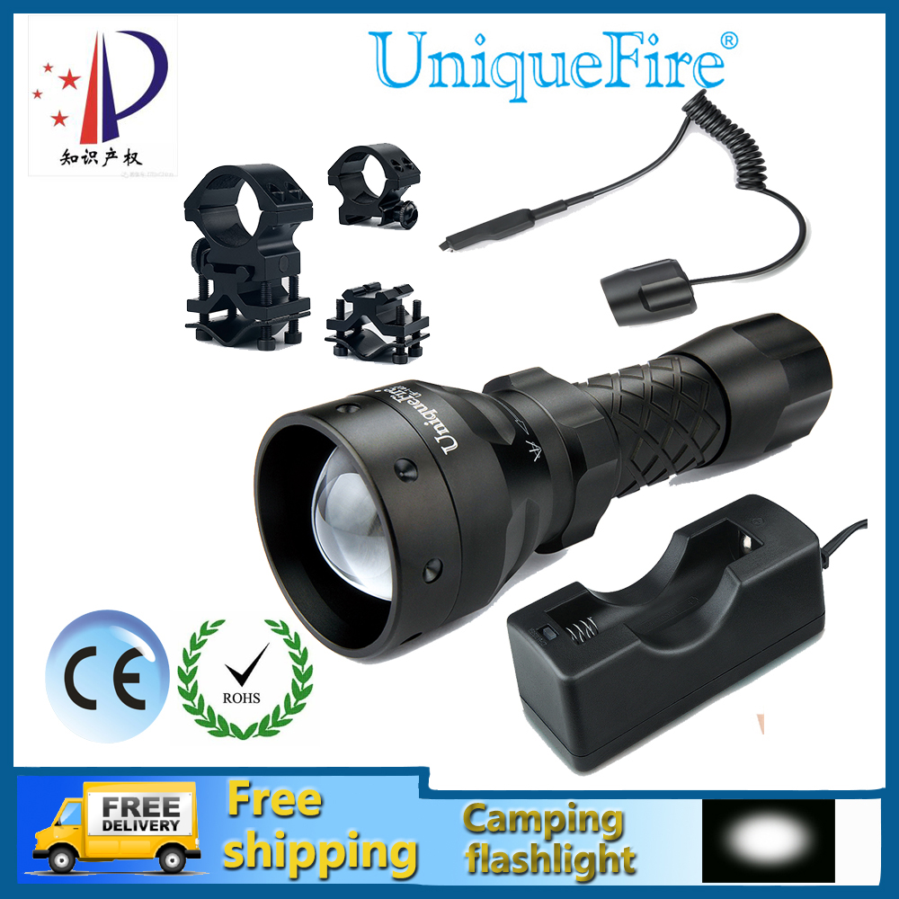 New UniqueFire 1407 XP-E Adjustable LED Flashlight For 3.7v Rechargeable Battery+Rat Tail+Charger+Scope Mount Free Shipping