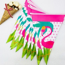 2.5m/set Flamingo Banner And Flag Baby Cartoon Theme Party Favors Kids Happy Birthday Decoration Supplies  Festival