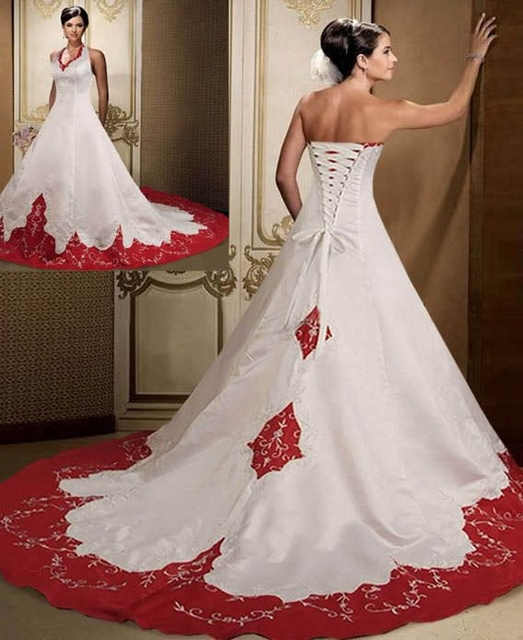 Stain Red And White Wedding Dresses Halter Bride Bridal Wedding Gowns Floor Length Chapel Train Vestido De Noiva 2016