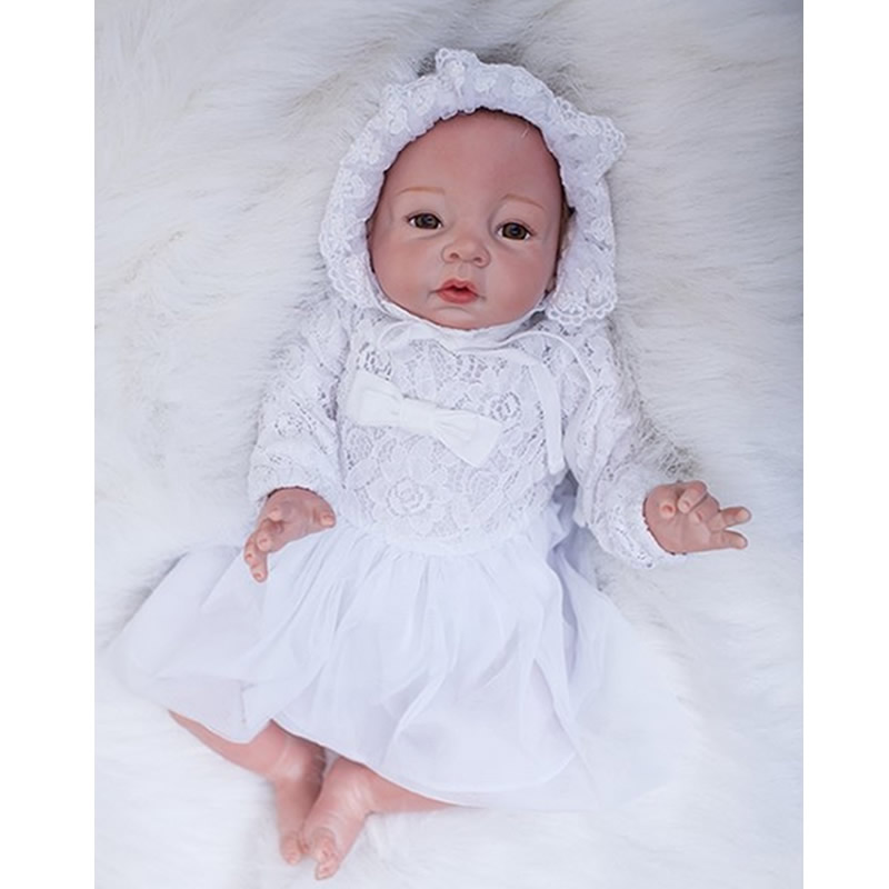 Silicone Reborn Baby Girl Dolls Real Touch Newborn Babies Toy 20 Inch Lifelike Doll With White Dress Kids Birthday Xmas Gift pink romper 20 inch reborn babies girl lifelike silicone newborn dolls realistic doll toy with blue eyes kids birthday xmas gift