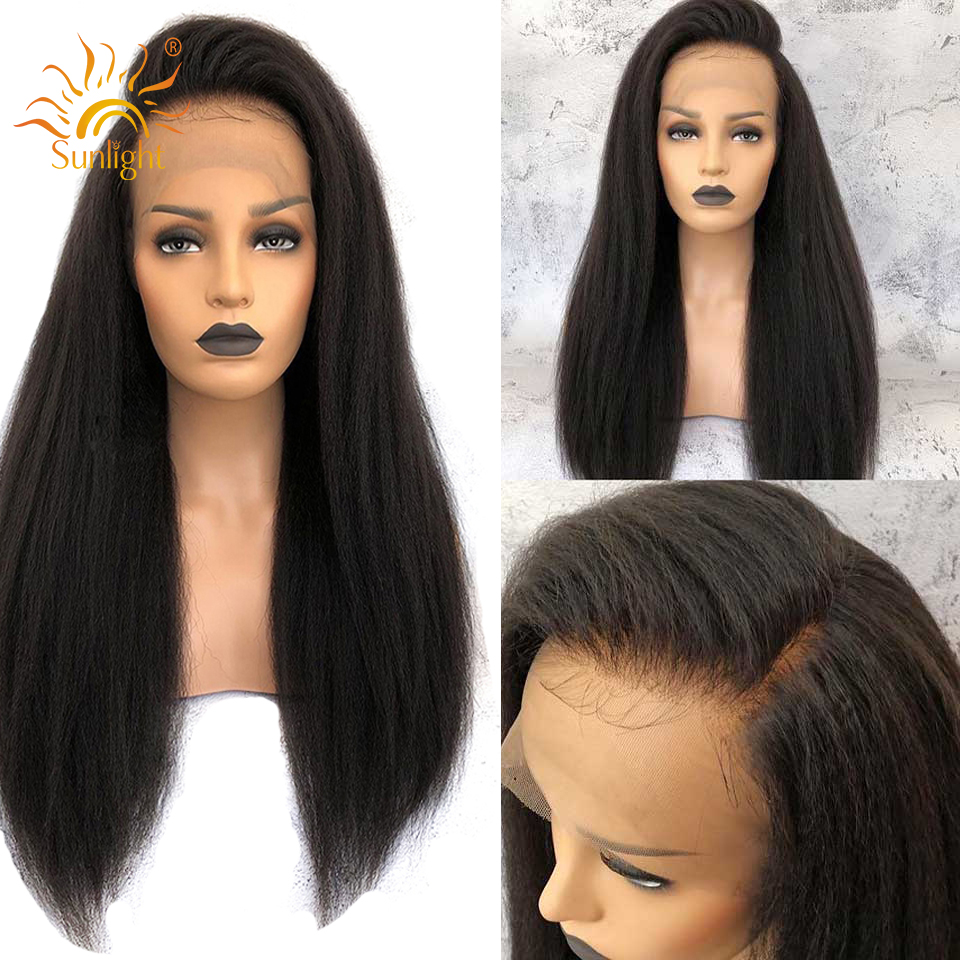 Kinky Straight Wig Glueless Lace Front Human Hair Wigs Brazilian Lace Wig 150 180 Density Yaki