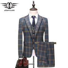 Plyesxale 2018 Menss Plaid Suits Slim Fit Wedding For Men 3 Piece Mens With Pants 5XL Formal Terno Masculino Q384