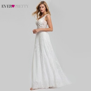 Image 4 - אלגנטית תחרה חתונה שמלות אי פעם די EZ07832CR אונליין V צוואר הכלה Boho שמלות כלה Vestido דה Noiva 2020 טול Mariage