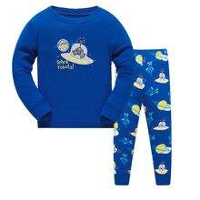 Купить с кэшбэком Autumn pajamas Long sleeve boys sleepwear cotton pyjamas children cartoon UFO kids pajama sets for 3-8y