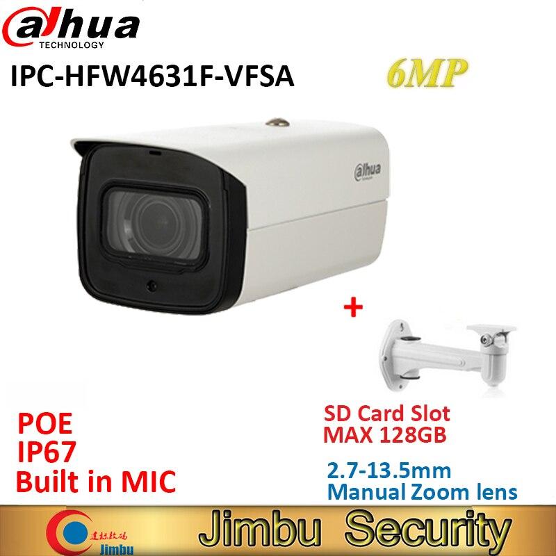 Dahua IPC-HFW4631F-VFSA 6MP IP della macchina fotografica lente varifocale manuale 2.7-13.5mm POE IP67 cctv IR80m outdoor macchina fotografica built in MIC Max128G