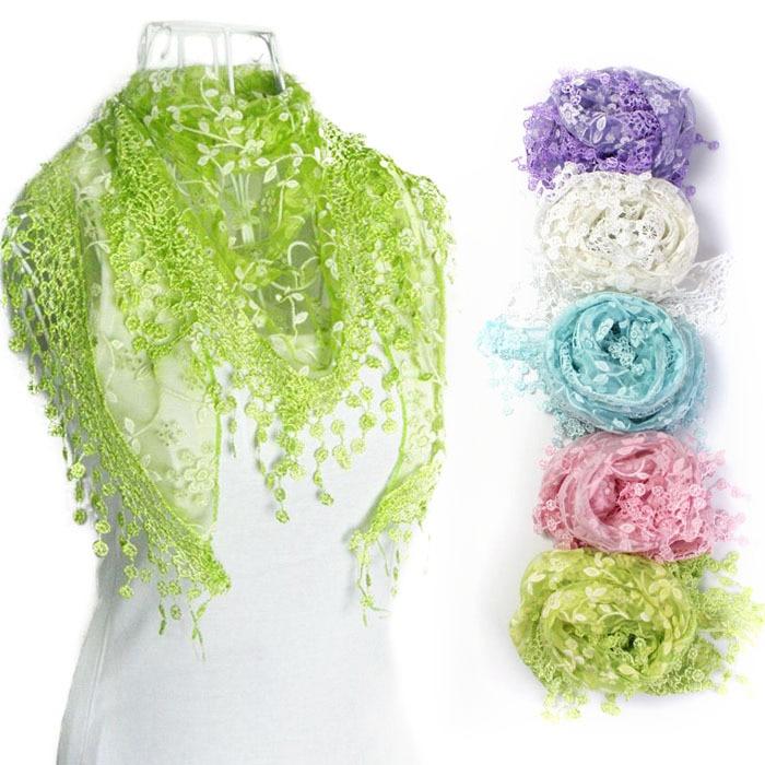 New Fashion Lace Tassel Sheer Burntout Floral Print Triangle Mantilla   Scarf     Wrap   Shawl