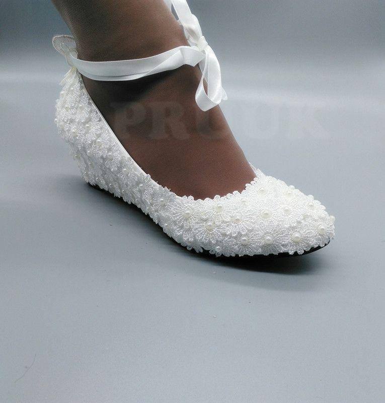 Süße Schuhe Satin Band Keile Brautjungfer 5 Spitze Frau Cm Pumpen Volle Ferse Handgemachte Weiß Weiß Up Braut Schmetterling Hochzeit f0Z7Rx