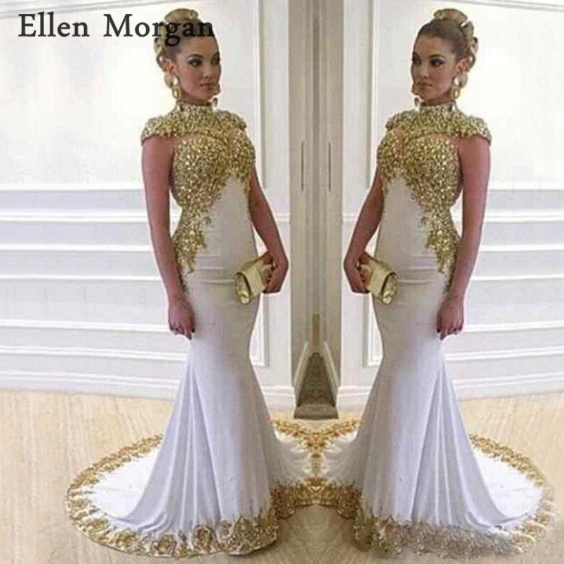 Saudi Arabia Mermaid Evening Dresses 2019 Lace Women Wear Shiny High Neck Long Cap Sleeves White Dubai Formal Prom Gowns
