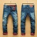 2017 de recipiente de molienda agujero mendigo de los hombres rectos flojos pantalones de vaquero de la personalidad cultiva su moralidad hip hop jeans