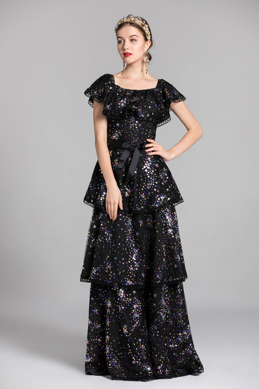 Paillettes Noir Slash Robes Fête Piste Mode Femmes Bal Évider À Longues Décolleté De Volants Broderie Créateurs champagne IPpSZ5